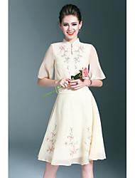 Chemise Jupe Costumes Femme,Broderie Quotidien Décontracté / Quotidien Antique Décontracté / Quotidien Eté Mao strenchy