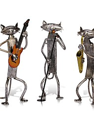 3Pcs Orchestra Band Musician Figurines Mini Cat Craft Animal Modern Sculpture Home Decoration Accessories Creative Gift