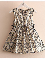 Floral Print Flower Vintage Long Children's Princess Dress Children's Wear Clothes Summer 2017 Girls Baby Vest Dress Skirt