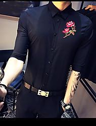 Chemise Homme,Couleur Pleine Fleur Plein Air Fête d'anniversaire Vintage simple Manche moyenne Col de Chemise Polyester Fin