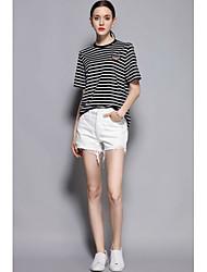 Dámské Jednoduchý Mikro elastické Kraťasy Kalhoty Štíhlý Mid Rise Jednobarevné