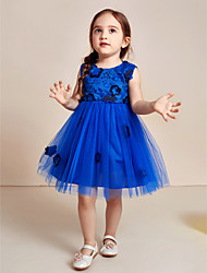Ball Gown Knee Length Flower Girl Dress - Cotton Organza Satin Tulle Jewel with Appliques Bow(s) Sash / Ribbon