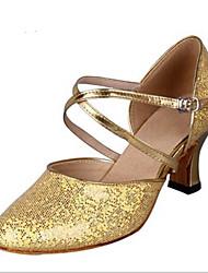 Maßfertigung Damen Latin Glanz Absätze Innen Verschlussschnalle Gold Silber 5 - 6,8 cm