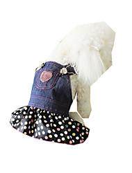 Hund Mäntel Hundekleidung Cowboy Lässig/Alltäglich Polka Dots Schwarz/Weiß