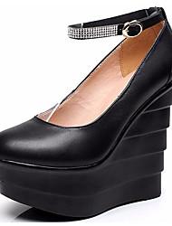 Feminino Saltos Sapatos formais Couro Primavera Outono Sapatos formais Anabela Preto 12 cm ou mais