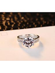 Damen Ring Kubikzirkonia Klassisch Elegant Platin Runde Form Schmuck Für Hochzeit Party / Abend Verlobung Alltag