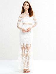 Women's Formal Sexy Sophisticated Sheath Lace Dress,Solid Lace Cut Out Round Neck Maxi Knee-length Long Sleeve Polyester White Black