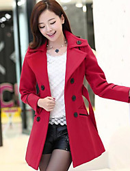 Women's Going out Simple Fall Winter Coat,Solid Square Neck Long Sleeve Long Wool Flannel