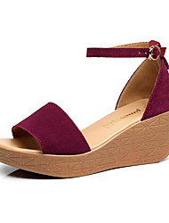 Women's Sandals Club Shoes Synthetic Summer Casual Wedge Heel Almond Ruby Fuchsia Black 3in-3 3/4in