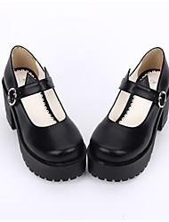 Sapatos Gótica Punk Lolita Confeccionada à Mão Inspiração Vintage Salto Robusto Cor Única Lolita 8 CM Preto ParaCouro PU/Couro de
