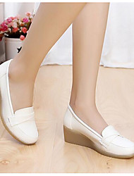 Women's Flats Comfort Cowhide Spring Casual White Flat
