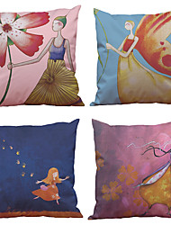 Set of 4  Flower Fairy Pattern Rayon Material (100% Polyester) Looks Like Silk Feeling Square Throw Pillow Cases Sofa Cushion Cover (18*18inch)