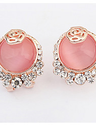 Euramerican  Round  Delicate  Elegant  Rhinestone  Opal  Stud  Earrings  Women's  Congratulations  Movie  Jewelry