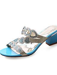 Damen Sandalen Pumps Künstliche Mikrofaser Polyurethan Sommer Kleid Party & Festivität Pumps Strass Ausgehöhlt BlockabsatzGrün Blau
