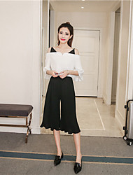 Women's Daily Pants Casual Summer Shirt Pant Suits,Solid Boat Neck Long Pant strenchy