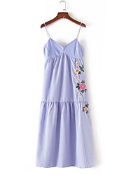 Women's Daily Skater Dress,Embroidery Strap Knee-length Sleeveless Polyester Summer Low Rise Inelastic Thin
