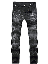 New Design Popular Style HOT! 28-42 Men's Mid Rise strenchy Straight Jeans PantsStreet chic Punk & Gothic Straight Slim Solid Print Cool Skulls Denim