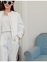 Mujer Primavera T-Shirt Pantalón Trajes,Escote Redondo Manga Larga