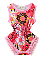 Baby Floral Spot One-PiecesCotton Summer Sleeveless Piecemeal Girls Cotton Rompers Headband Set