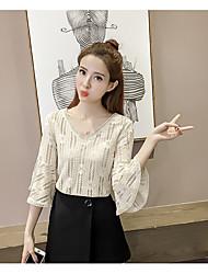 Damen Solide Niedlich T-shirt,V-Ausschnitt ¾-Arm Polyester