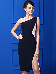 Gaine Robe Femme Décontracté / Quotidien simple,Couleur Pleine Une Epaule Mi-long Sans Manches Polyester Eté Taille Normale