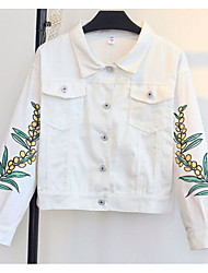 Women's Going out Modern Spring/Fall Jacket,Solid Print Shirt Collar Long Sleeve Short Oxford cloth