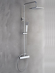 Modern/Comtemporary Shower System Rain Shower Widespread Thermostatic with  Ceramic Valve Two Handles Two Holes for  Chrome  Shower Faucet