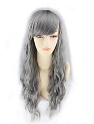 Harajuku Cosplay Wigs Grandma Gray Smoke Gray Corn Wool Long Hair Wigs 26inch