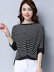 Damen Gestreift Einfach Normal T-shirt,Rundhalsausschnitt ¾-Arm Baumwolle