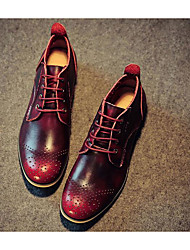 Men's Sneakers Comfort Pigskin Nappa Leather Spring Casual Burgundy Screen Color Coffee Flat