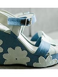 Women's Sandals Comfort Denim Spring Casual Comfort Light Blue Flat