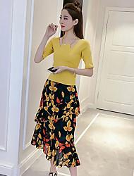 Damen T-Shirt-Ärmel Rock Anzüge,V-Ausschnitt Sommer Kurzarm