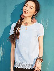 Dámské Jednobarevné Běžné/Denní Jednoduché Tričko Polyester Kulatý Krátký rukáv
