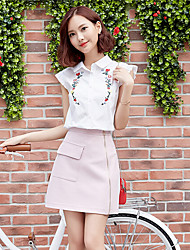 Women's Daily Simple Blouse,Solid Shirt Collar Short Sleeve Polyester