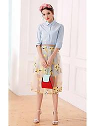 Dámské Jednobarevné Květinový Běžné/Denní Roztomilé Sofistikovaný Tričko Sukně Obleky-Léto Košilový límec