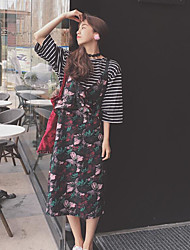 Women's Casual/Daily Simple Summer T-shirt Dress Suits,Print Round Neck Long Sleeve Micro-elastic