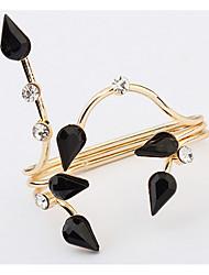 Euramerican Fashion Droplets Black Elegant  Rings  Rhinestone Women's Party Double Rings Movie Jewelry