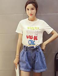 Tee-shirt Femme,Lettre Décontracté simple Eté Non Disponible Col Arrondi Coton