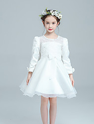 Ball Gown Short / Mini Flower Girl Dress - Cotton Organza Satin Jewel with Bow(s) Buttons Embroidery Lace
