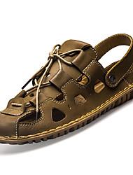 Для мужчин Сандалии Полиуретан Весна Лето На низком каблуке Темно-коричневый Хаки Менее 2,5 см