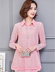 Women's Casual/Daily Work Simple Summer Blouse,Floral / Botanical V Neck Long Sleeve Lace Satin Chiffon Medium