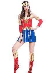 Costumes de Cosplay Superhéros Princesse Fête / Célébration Déguisement d'Halloween Mosaïque Robe Casque Bottes Plus d'accessoires