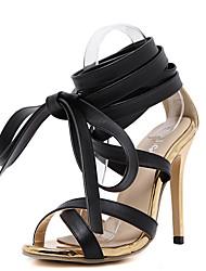Damen Sandalen PU Sommer Schnürsenkel Stöckelabsatz Schwarz 10 - 12 cm