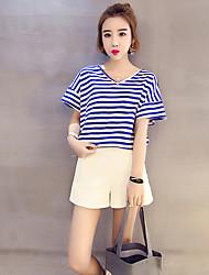 Damen Gestreift Einfach Lässig/Alltäglich T-shirt,V-Ausschnitt Kurzarm Baumwolle