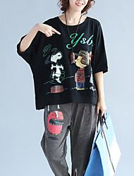 T-shirt Da donna Casual Moda cittàCon stampe Rotonda Cotone Mezze maniche