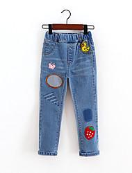 Para Meninos Jeans Floral Estampado Verão
