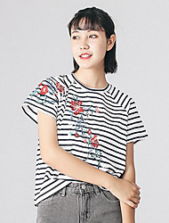 Damen Gestreift Stickerei Einfach T-shirt,Rundhalsausschnitt Kurzarm Baumwolle