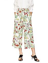 Для женщин Уличный стиль Неэластичный Чино Брюки,С высокой талией Широкие Цветочный Камуфляж