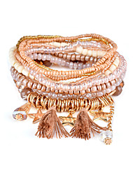 Lureme Bohemian Beads Tassel Star Charms Multi Strand Textured Bracelet Set-Baby