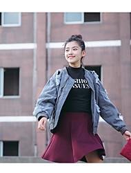 Women's Daily Soak Off Summer Denim Jacket,Solid Round Neck Long Sleeve Regular Cotton Blend